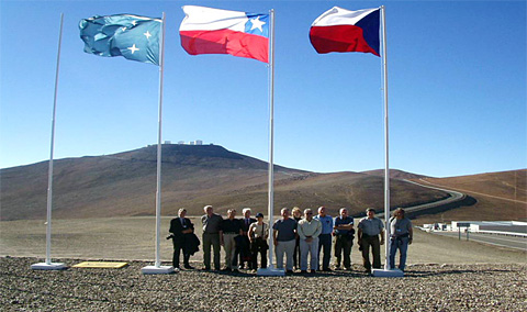 Official delegation of the Czech Academy of Sciences, including two Fellows of the Learned Society and Czech Ambassador in Chile  at the visit of Cerro Paranal station of the European Southern Observatory in the Chilean Andes